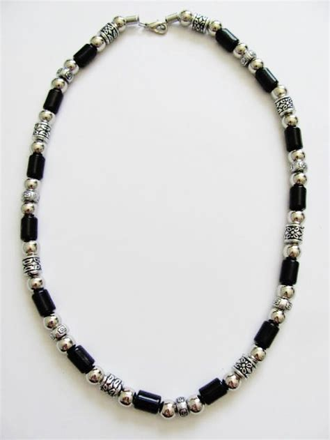 mens beaded jewelry vintage style chrome black surfer beaded necklace s
