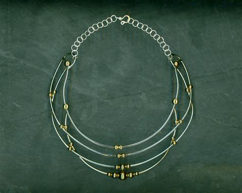 gold wire jewelry silver wire necklace gold beaded wire necklace by