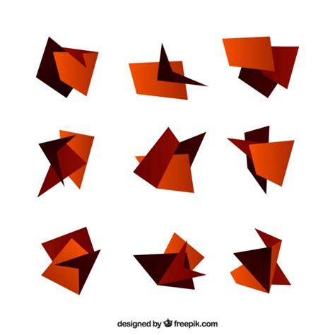 origami figures set of origami figures in brown tones vector free
