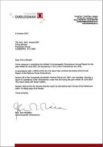 transmittal letter commonwealth ombudsman annual report