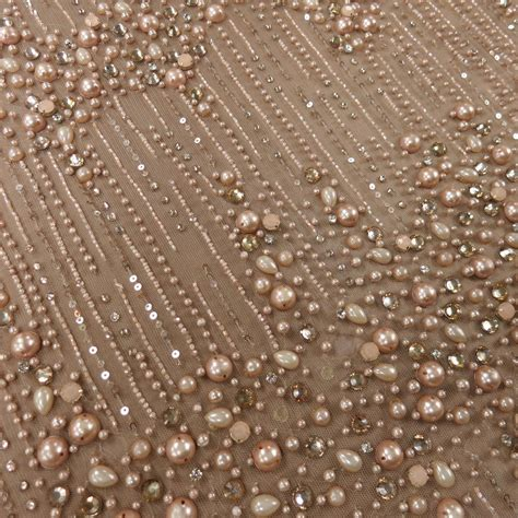 beadwork on fabric a blush pearl heavily beaded embroidered tulle haute
