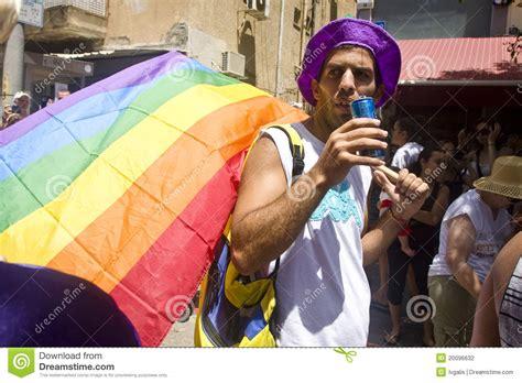 parade ta with rainbow flag at pride parade ta editorial