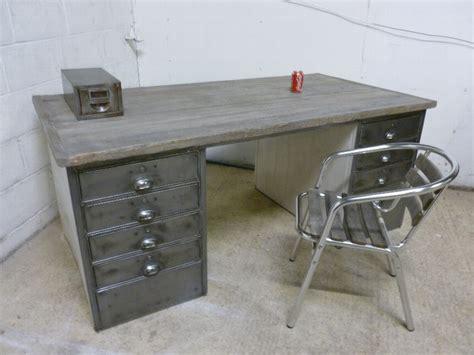 office desk vintage antique antique vintage industrial polished steel wood