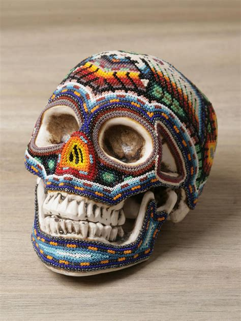 mexican beaded skulls beautiful macabre beaded human skulls by mexican huichol