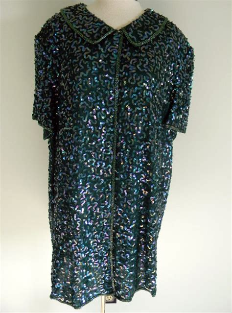beaded tops for evening green sequin beaded evening top sz 2x special occassion