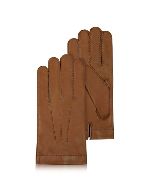 brown leather gloves mens forzieri s lined brown italian leather gloves in brown for lyst