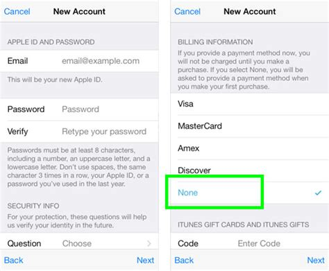 make apple id no credit card how to create an apple id with no credit card the iphone faq