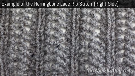 what does right side in knitting the herringbone lace rib stitch knitting stitch 207