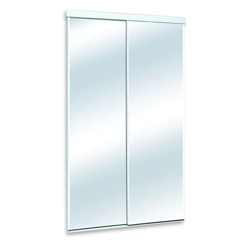 closet sliding mirror doors white mirrored sliding door common 48 in x 80 in actual