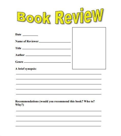 picture book format sle book review template 10 free documents in pdf word