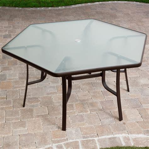 hexagon patio table atlantis hexagon patio dining table at hayneedle