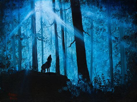 bob ross painting wolf moonlight serenade painting by chris