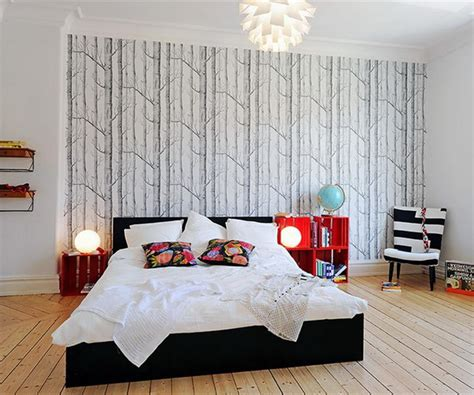 wall paper designs for bedrooms focusing on one wall in bedroom swedish idea of using