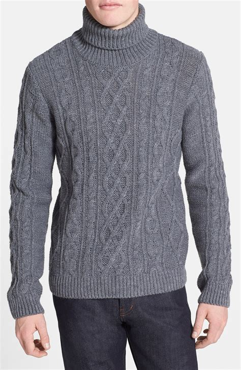 cable knit turtleneck topman chunky cable knit turtleneck sweater in gray for