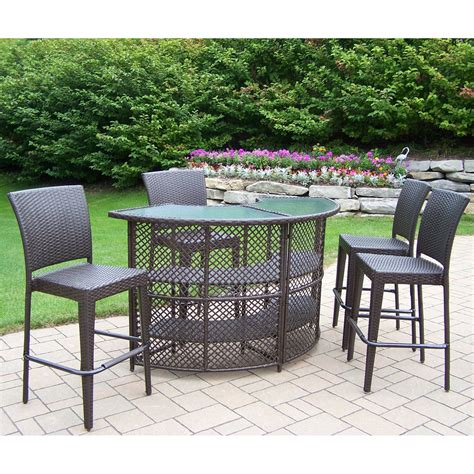 patio bar furniture set oakland living all weather wicker half patio bar set