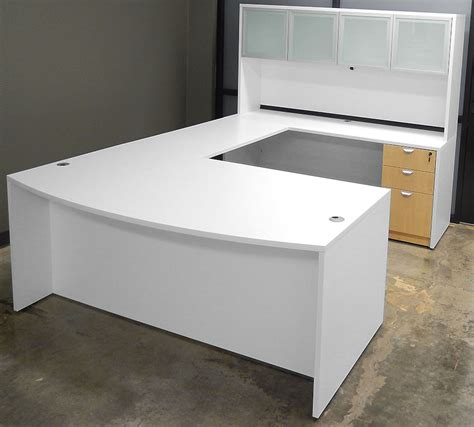 white u shaped desk white woodgrain u shaped workstation w hutch