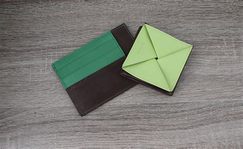 origami change purse origami leather coin purse row brown and tropic green