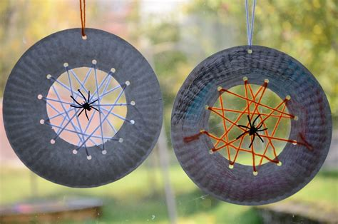spider crafts for no wooden spoons paper plate spiderwebs kid craft