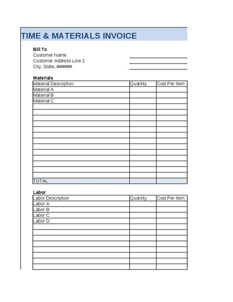 time and material invoice template best free home