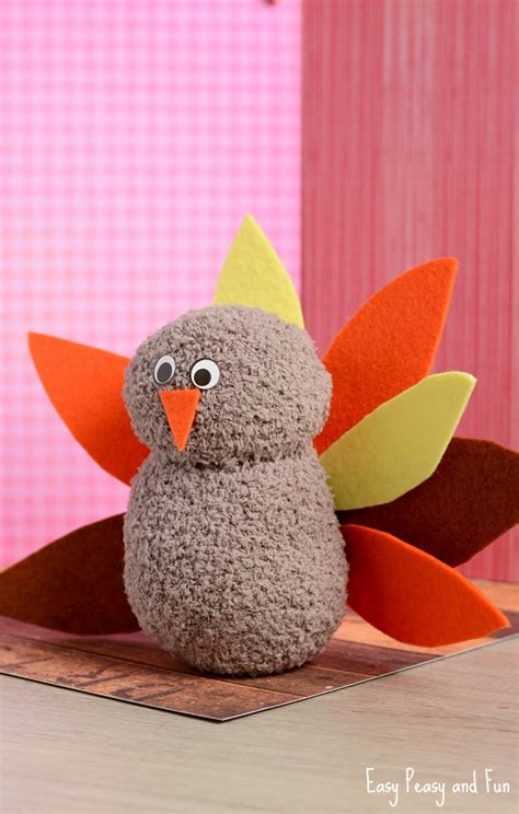 sock crafts for no sew sock turkey craft easy peasy and