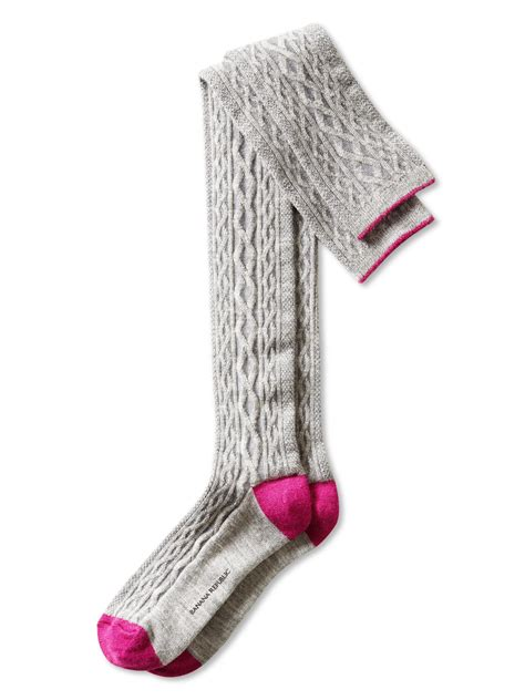 cable knit the knee socks banana republic cable knit the knee sock grey in gray