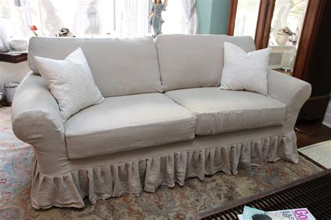 shabby chic sofa ruffle slipcover by
