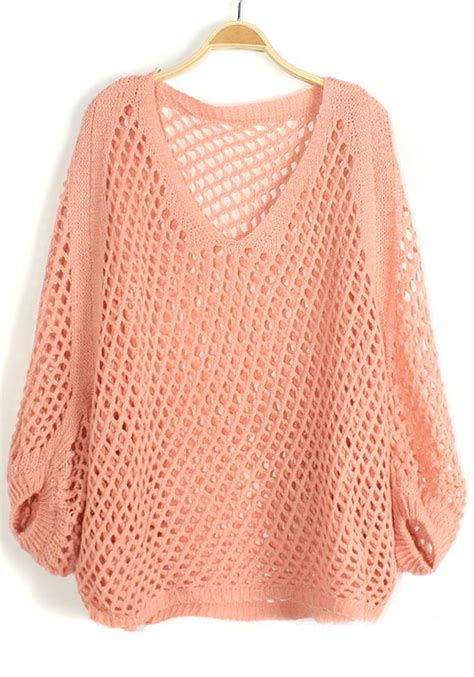 knit a sweater pink hollow out irregular bat sleeve knit sweater