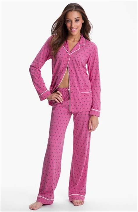 knit pajamas dkny patterned knit pajamas in pink pink cherie lyst