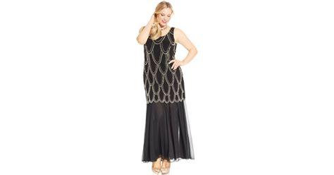 beaded drop waist dress betsy adam plus size beaded drop waist dress in black lyst