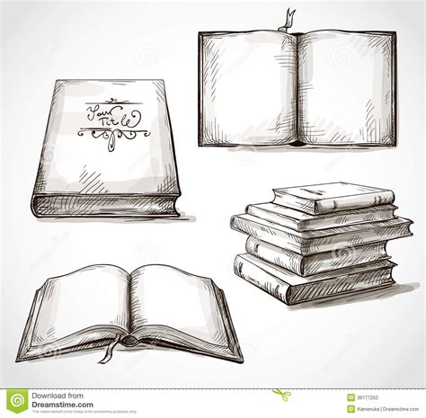 drawing book pictures set of books drawings stock vector image of doodle