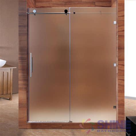 sliding glass shower doors frameless sd frameless sliding shower door frosted shine bathrooms