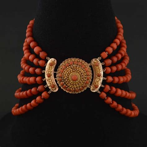 antique coral antique coral necklace antique six strand coral
