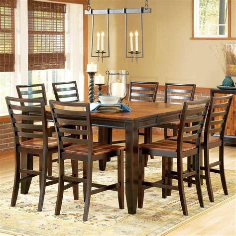 gathering table set abaco 9 gathering table set 54 quot square leg table