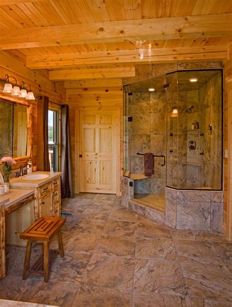 Bath And Showers supersized walk in showers for new log homes or renovations