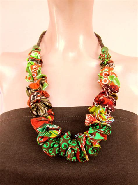 material to make jewelry chunky necklace africa fabric necklace recycled glass