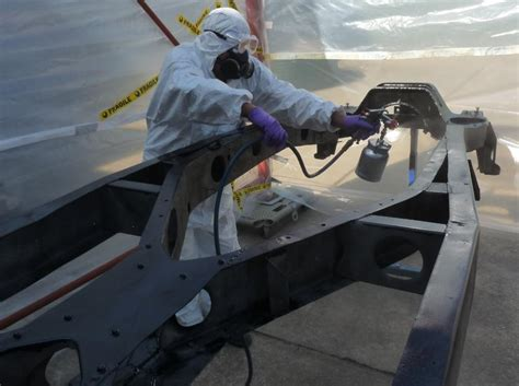 spray painter ppe ian stewart painting chassis the royal daimler