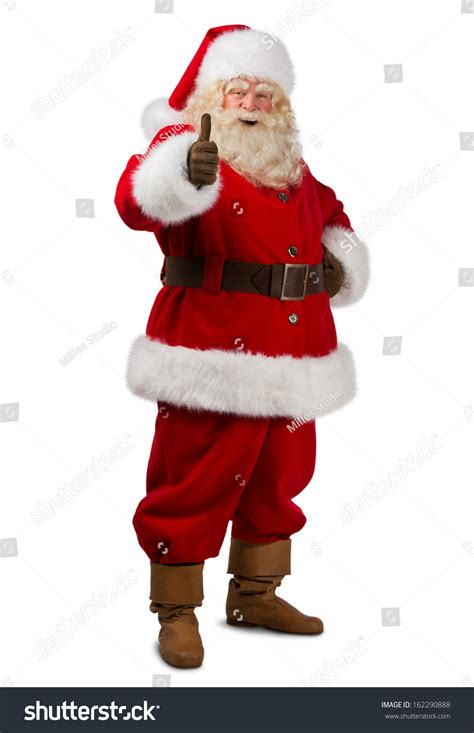 up santas santa claus standing isolated on white stock photo