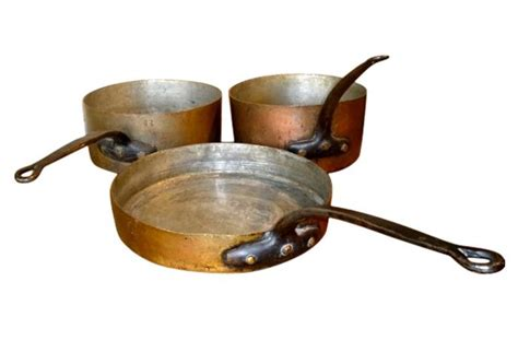 Antique Copper Cookware, Set of 3   Omero Home