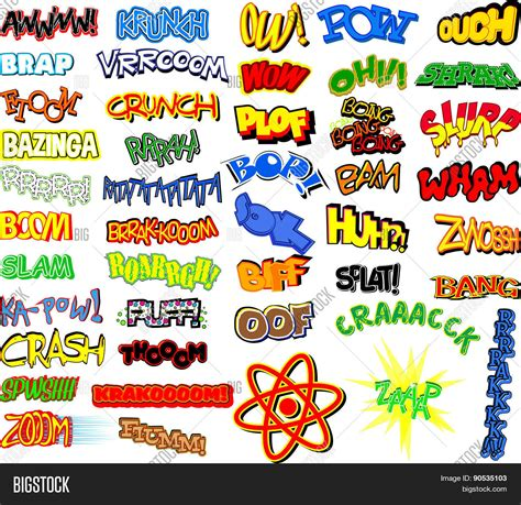 comic book picture effect retro comic book word collection stock vector stock