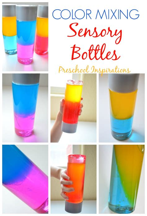 color crafts for how to make a color mixing sensory bottle preschool