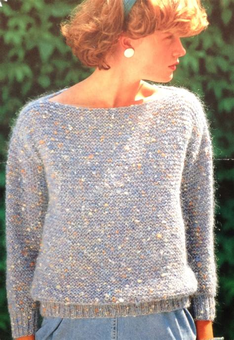 free boat neck sweater knitting pattern easy garter stitch knitting pattern s