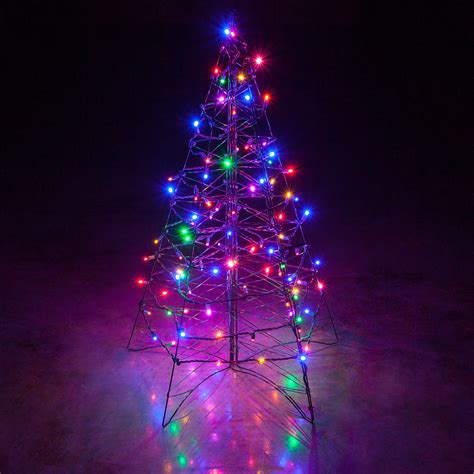 window tree with lights lighted multicolor led outdoor tree