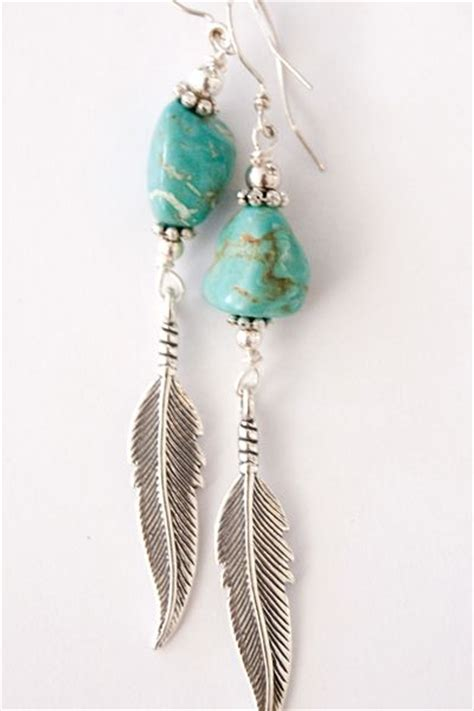 feathers for jewelry silver and turquoise feather earrings jewelry