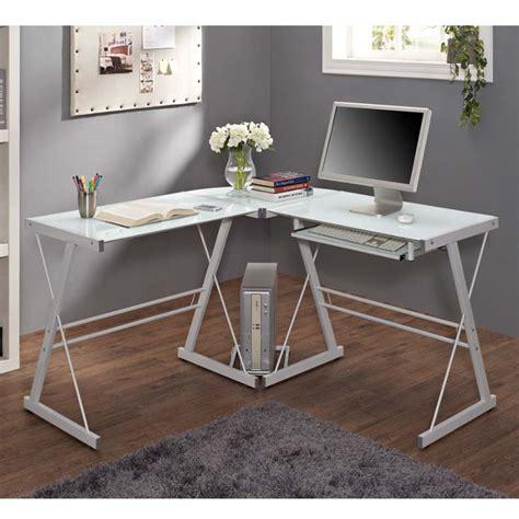frosted glass l shaped desk walker edison soreno l shaped glass computer desk white