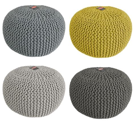 knitted poufs uk chunky knit knitted pouffe foot stool cushion contemporary