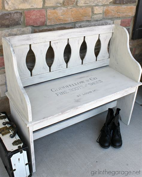 chalk paint bench ideas goodfellow stenciled bench makeover in the garage 174