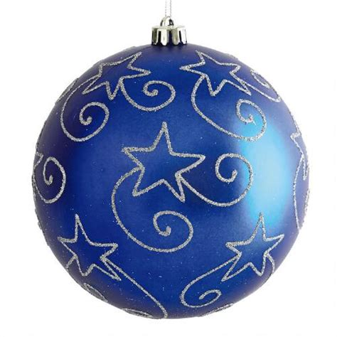 large blue shatterproof ornament tree