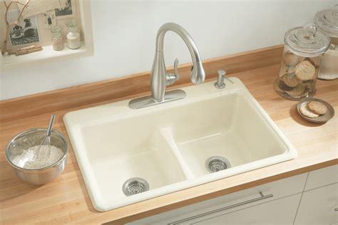 kholer kitchen sinks kohler k 5838 4 0 deerfield smart divide self