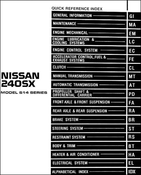 service and repair manuals 1997 nissan 240sx spare parts catalogs 1997 nissan 240sx repair shop manual original