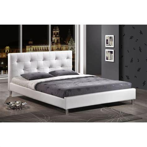 modern white bed frames modern tufted faux leather platform bed frame